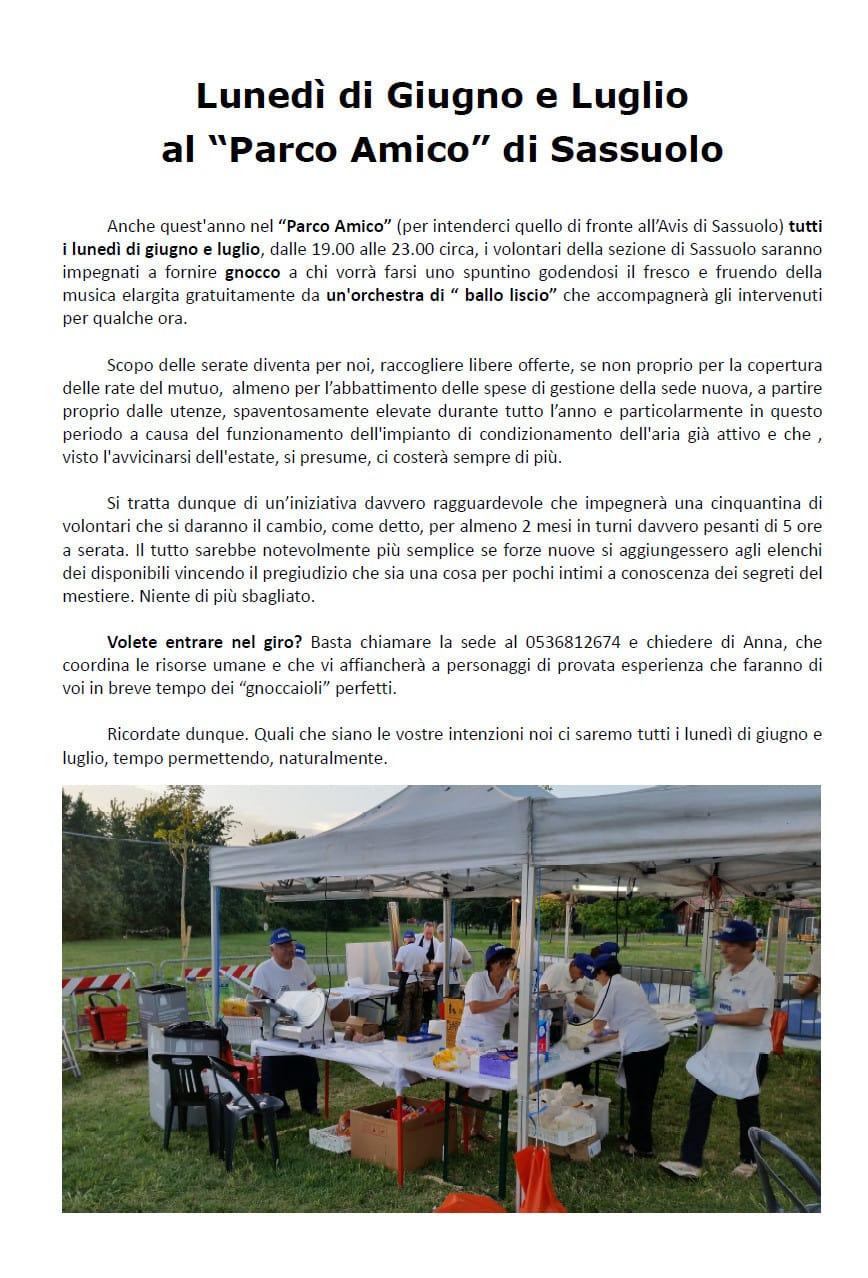 Sassuolo, lunedì al parco Amico - AVIS Provinciale Modena