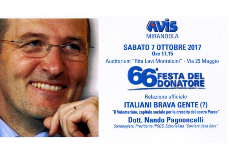 invito festa Avis Mirandola 2017 con Nando Pagnoncelli