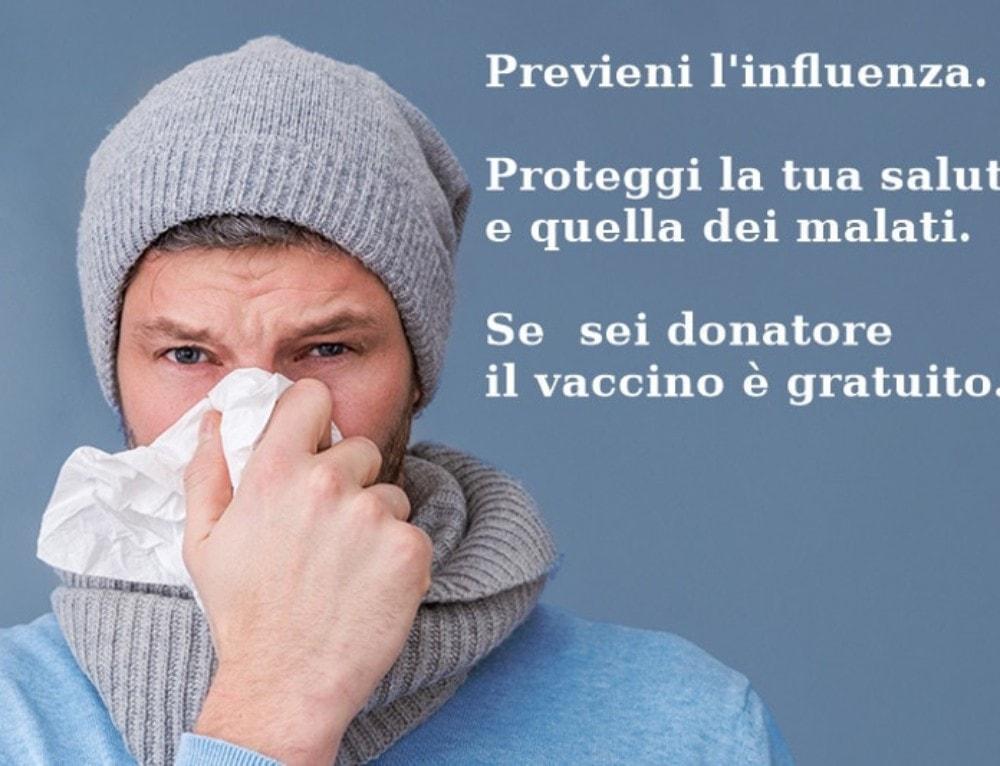 Vaccinazione antinfluenzale gratuita per i donatori