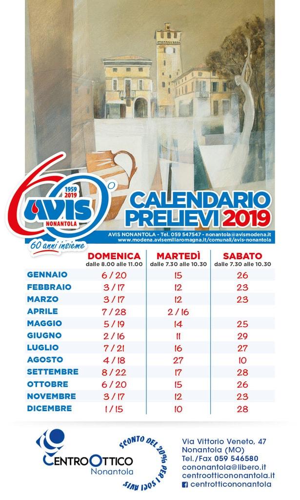 calendario donazioni 2019 Nonantola