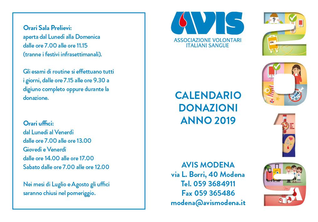 Calendario Avis.Calendario Donazioni Anno 2019 Avis Provinciale Modena