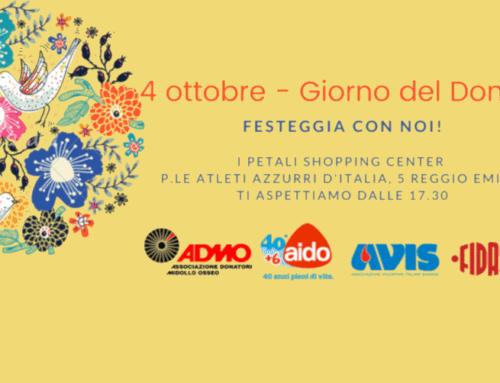 4 ottobre Giornata del Dono: insieme a Reggio Emilia